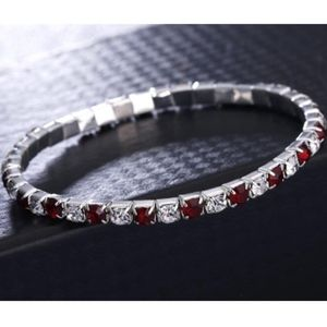 Jewelry - Ruby Red Square White Crystal Tennis Bracelet